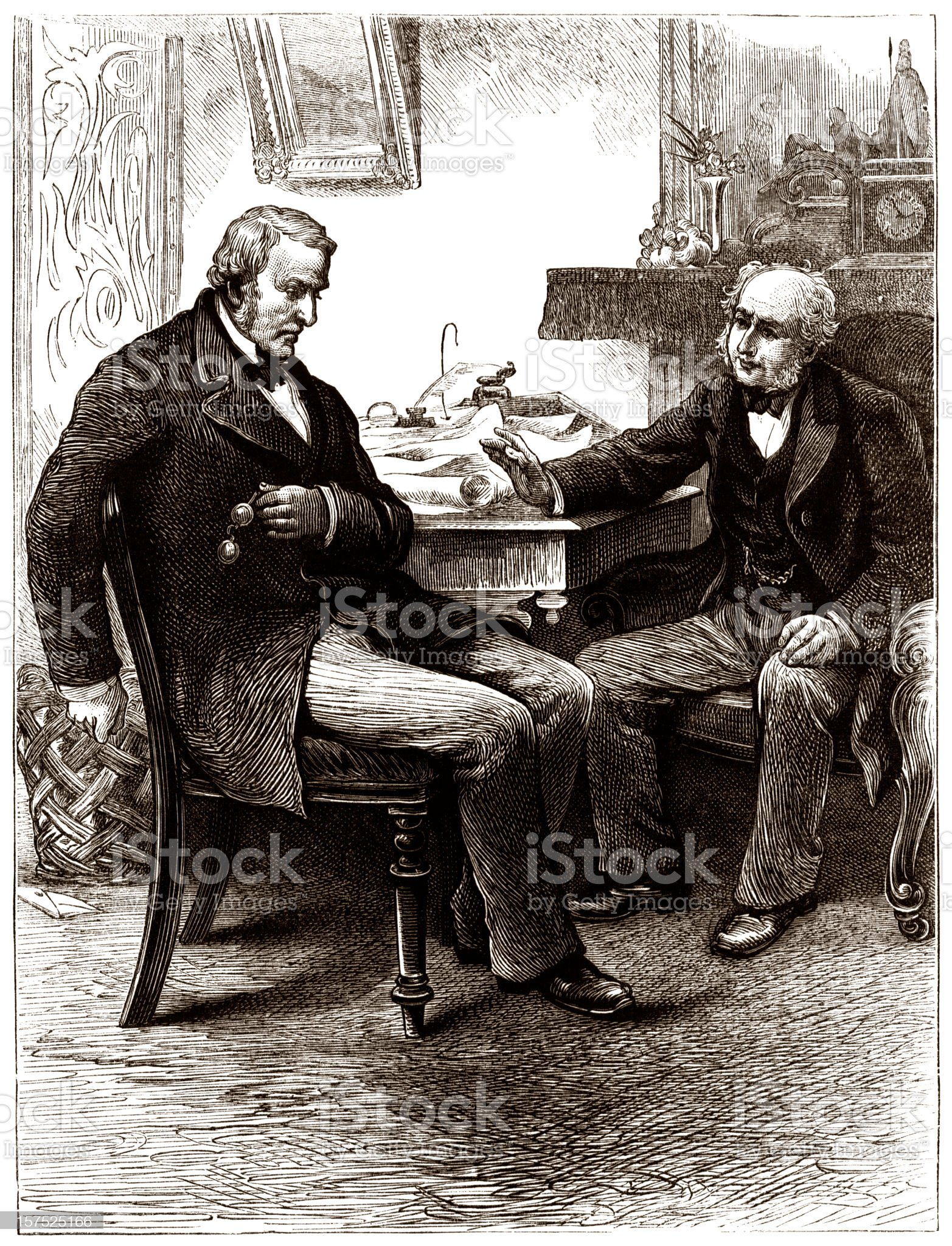 Two senior men discussing business - Victorian illustration royalty-free stock vector art
