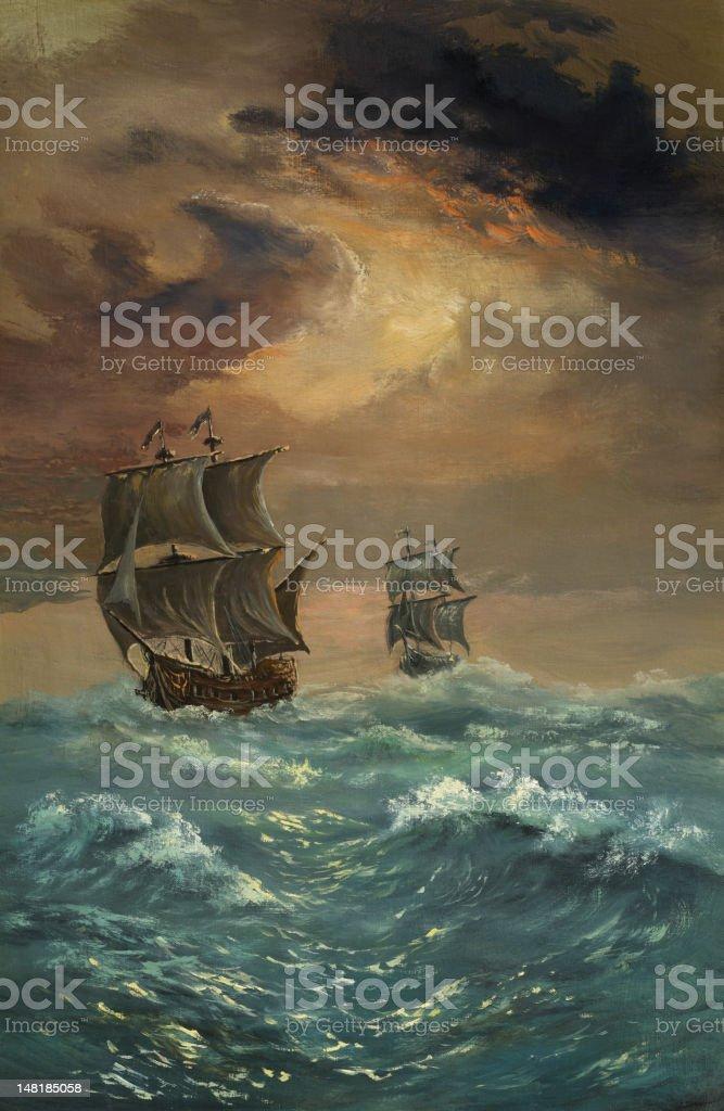 Two ships vector art illustration