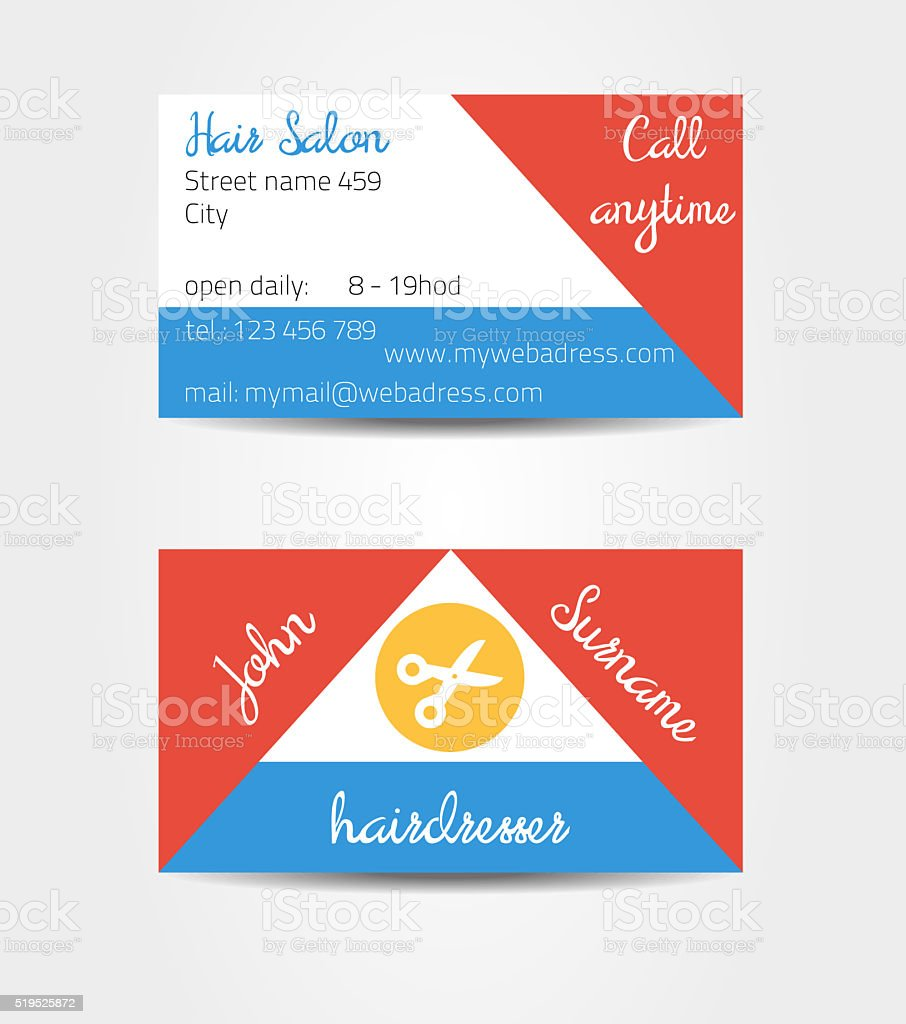 Two sided eccentric and extraordinary business cards template stock photo