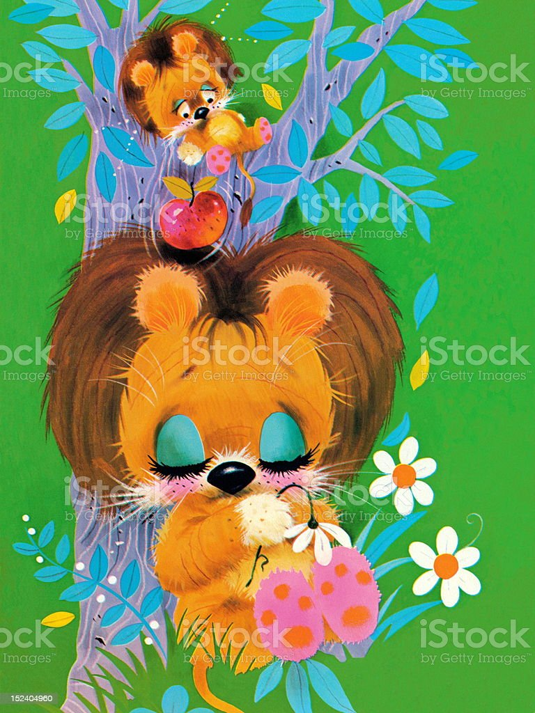 Two Sleepy Lions in Tree royalty-free stock vector art