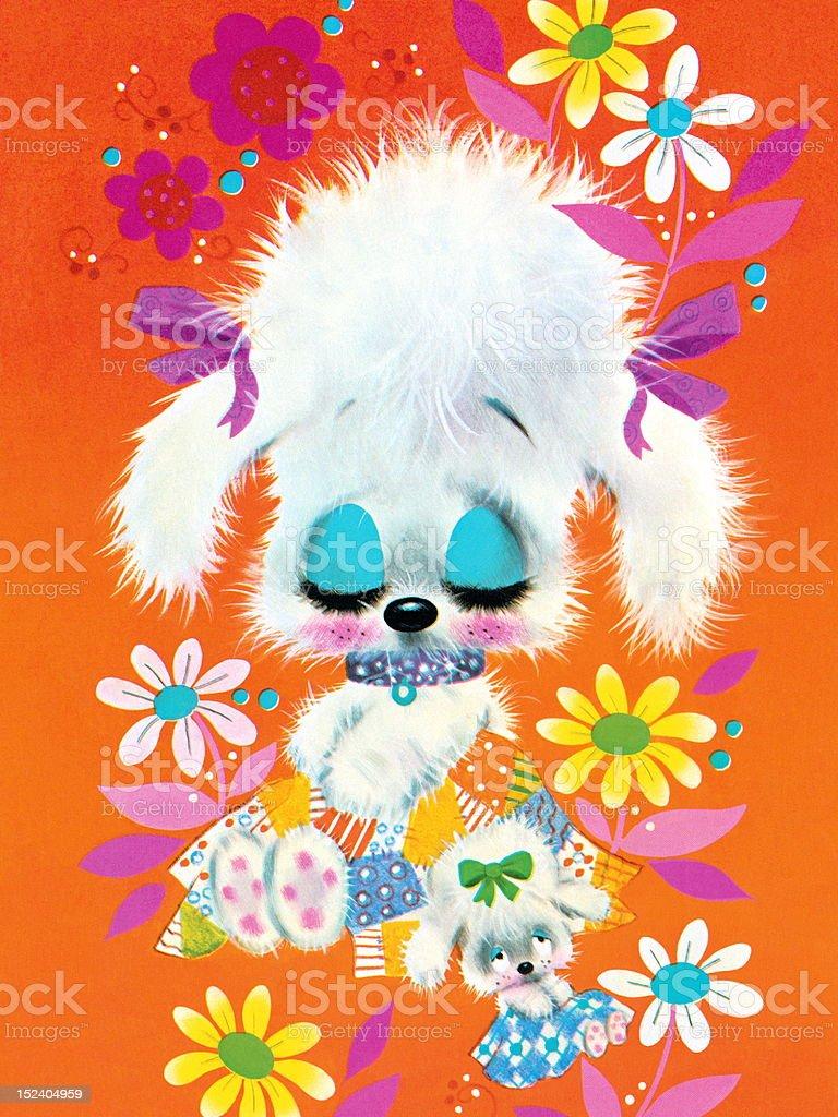 Two Sleepy Puppies in Flowers royalty-free stock vector art