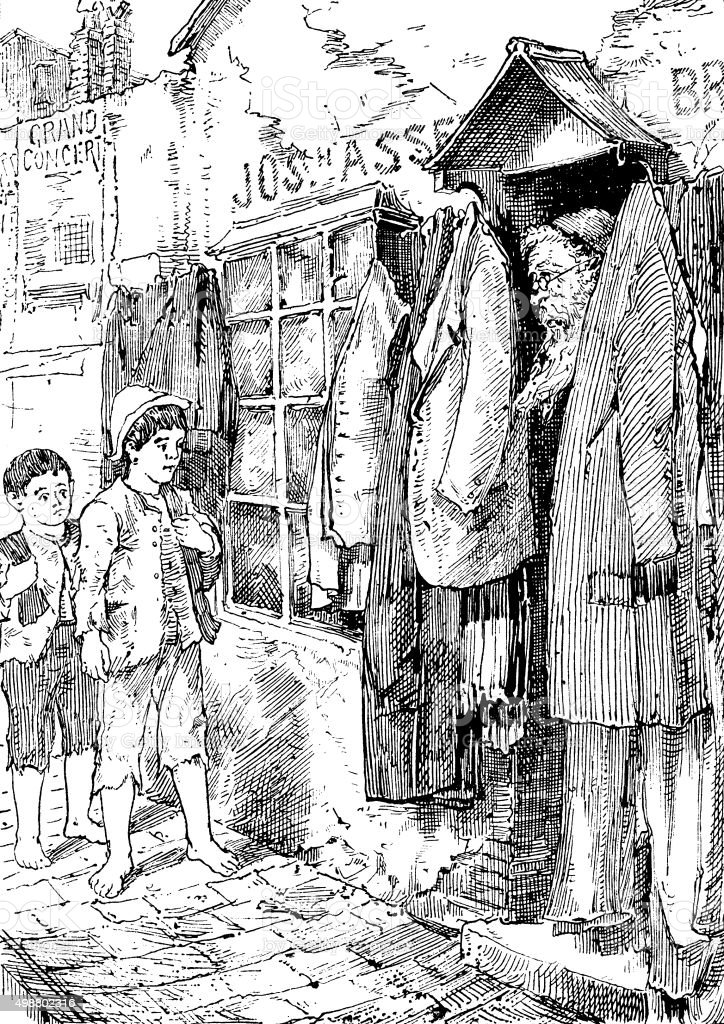 Two small boys talking to an old Jewish clothes seller vector art illustration