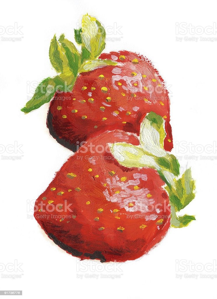 Two strawberries vector art illustration