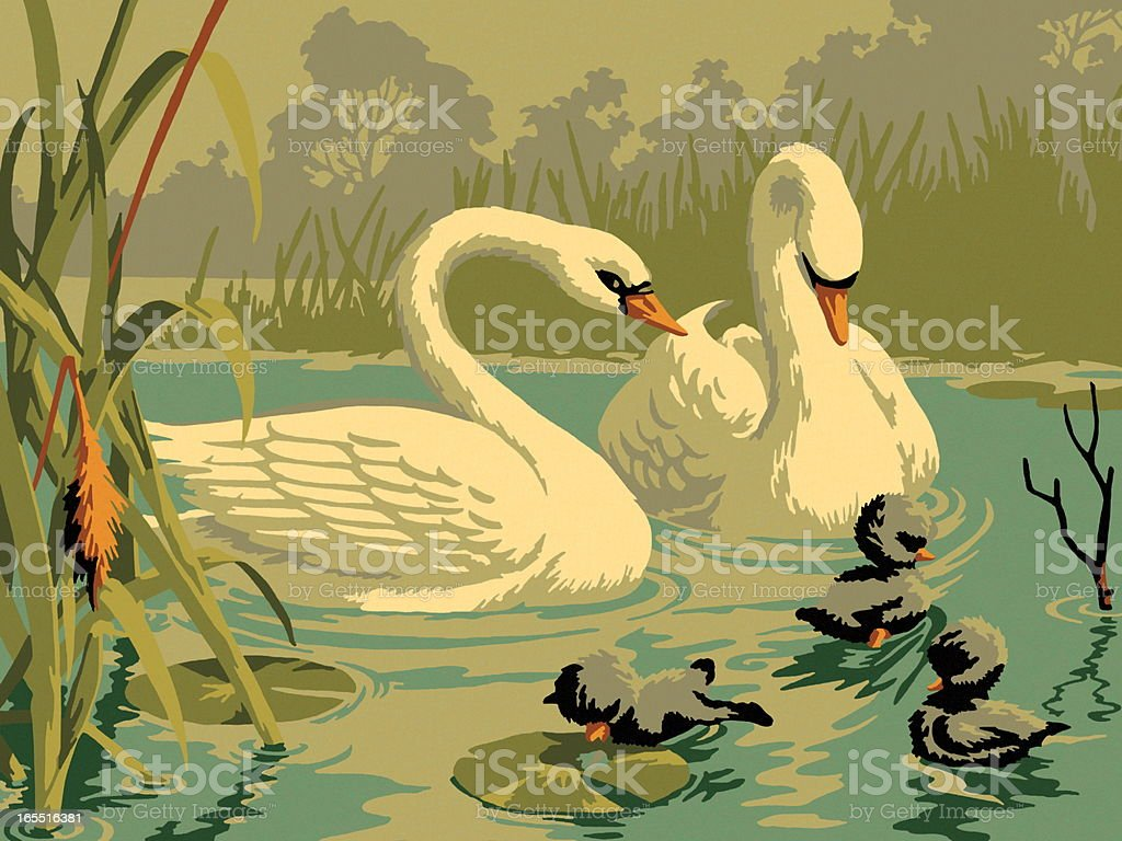 Two Swan royalty-free stock vector art