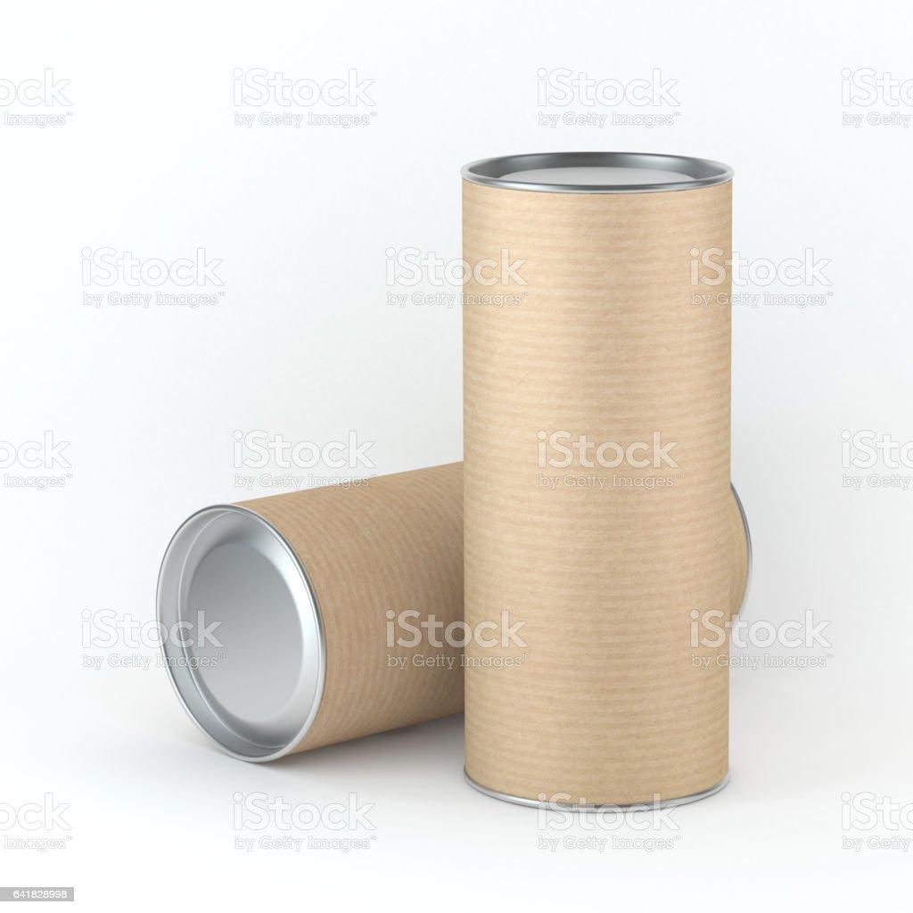 Two tall kraft cardboard Tin can packaging mockup vector art illustration