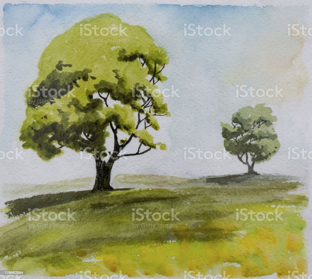 Two trees at a distance royalty-free stock vector art