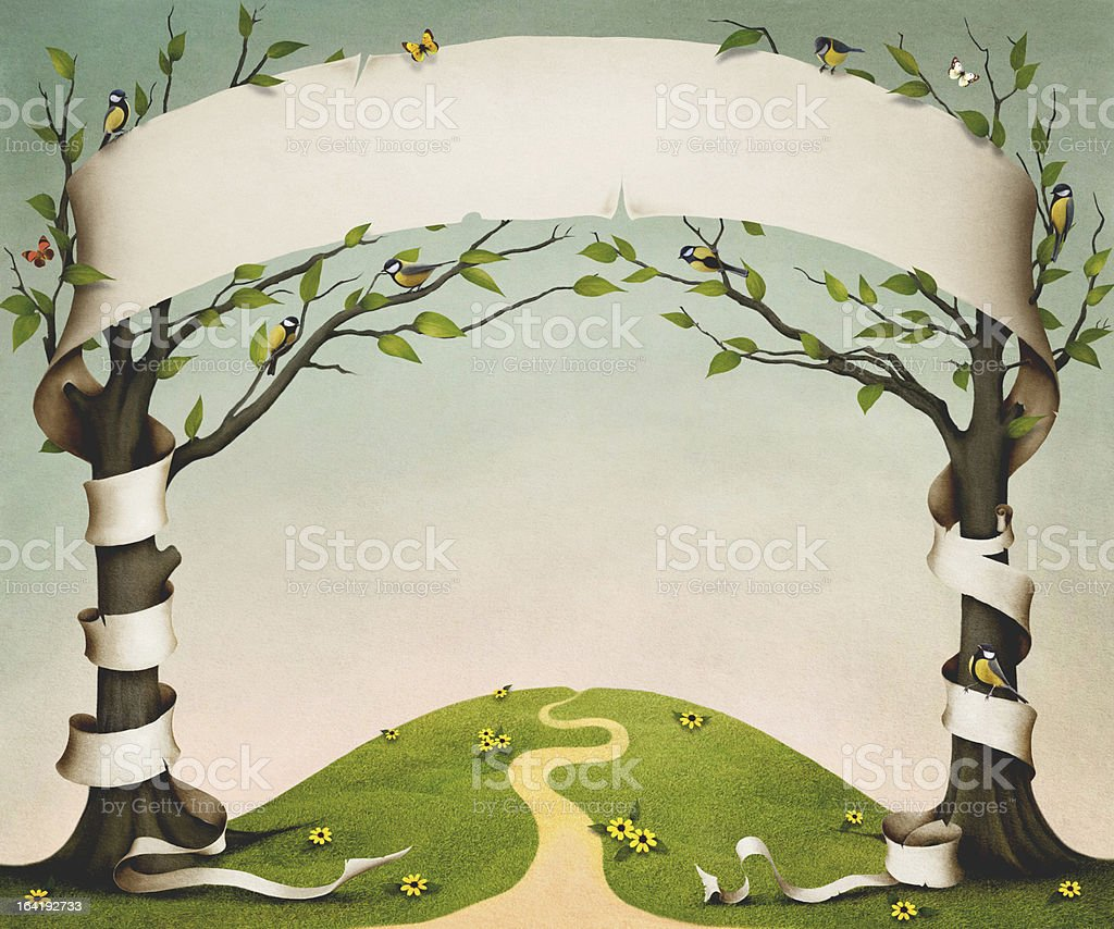 Two trees with banner royalty-free stock vector art