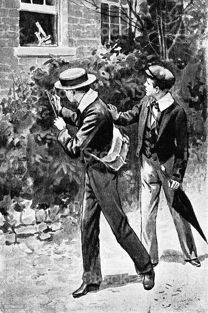 Two Victorian boys firing a catapult vector art illustration