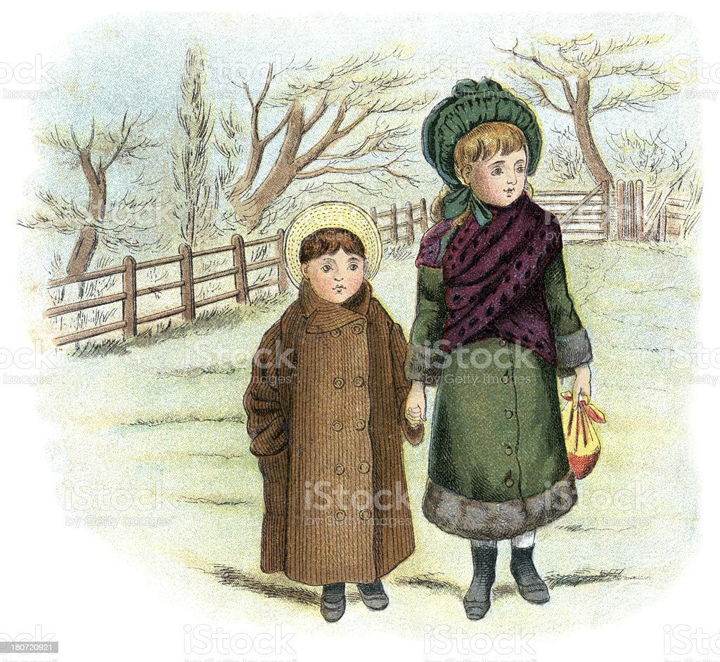 Two Victorian children out for a walk royalty-free stock vector art