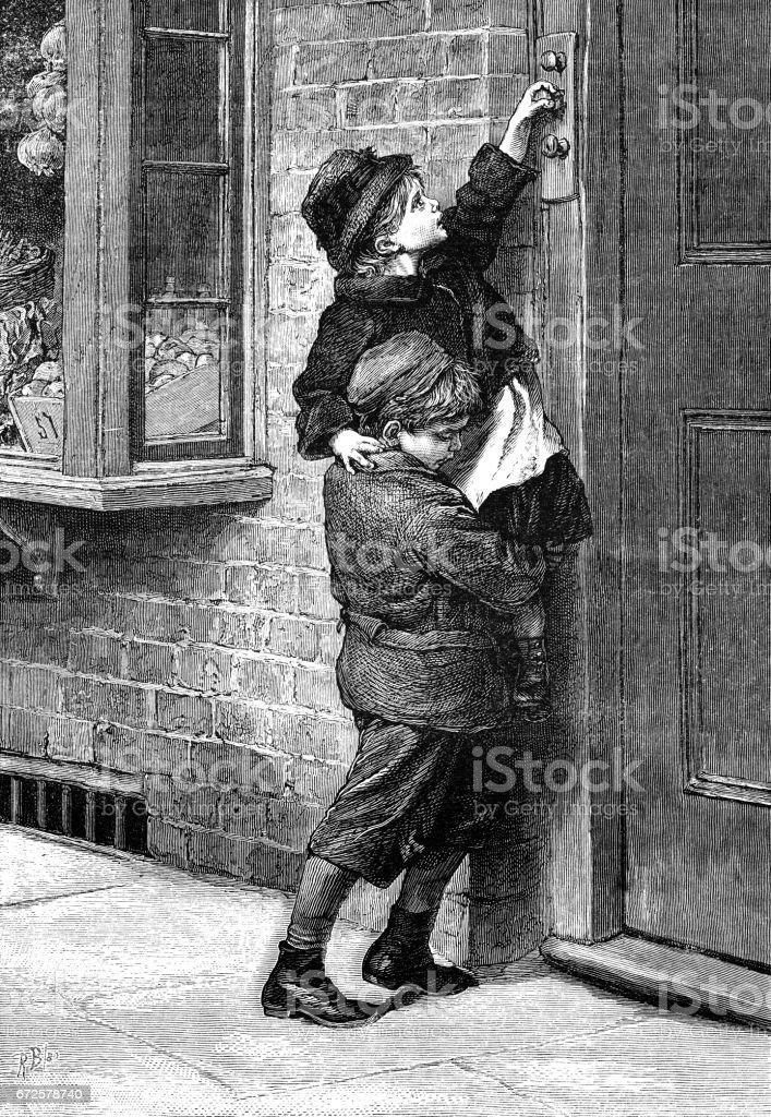 Two Victorian children struggling to reach a doorbell vector art illustration