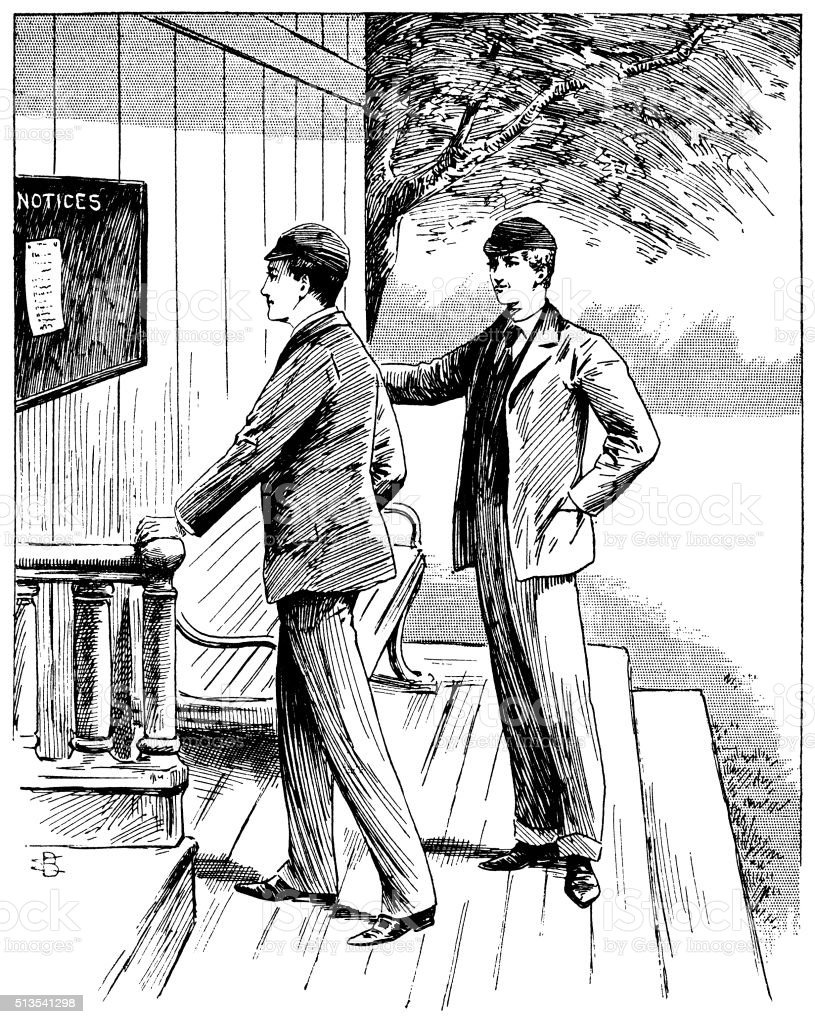 Two Victorian cricketers studying a notice board vector art illustration