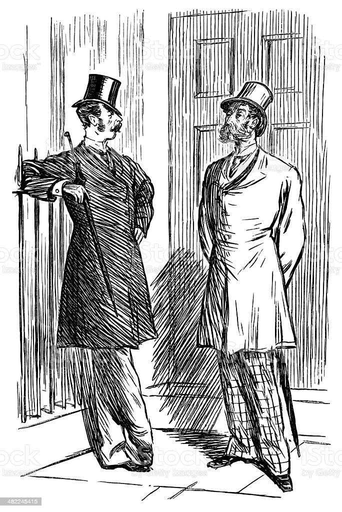 Two Victorian gentlemen with whiskers vector art illustration