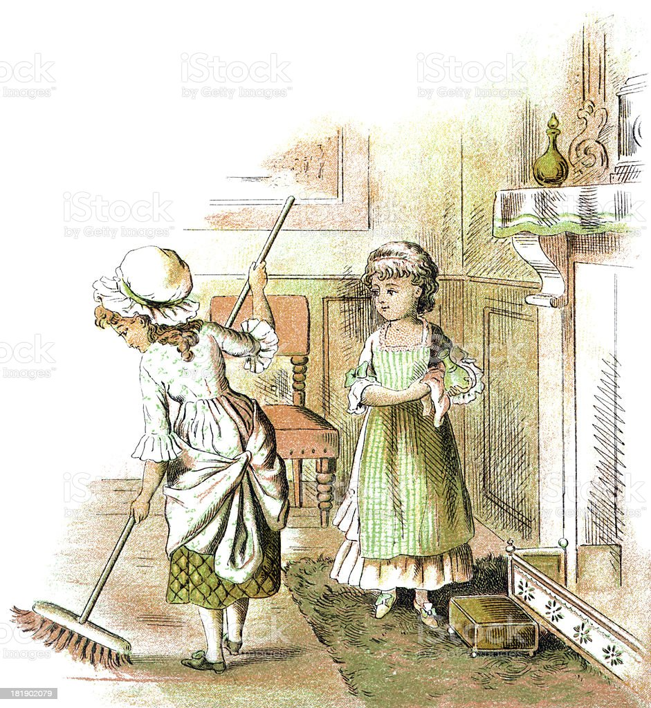 Two Victorian girls doing housework royalty-free stock vector art
