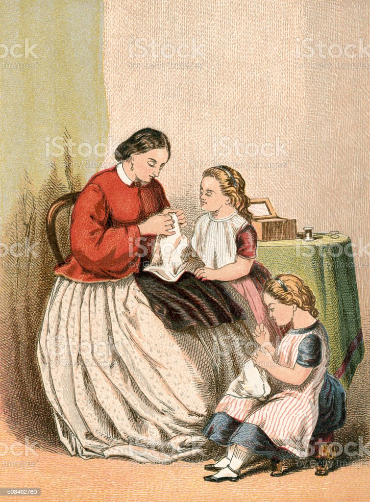 Two Victorian girls having a sewing lesson with their mother vector art illustration