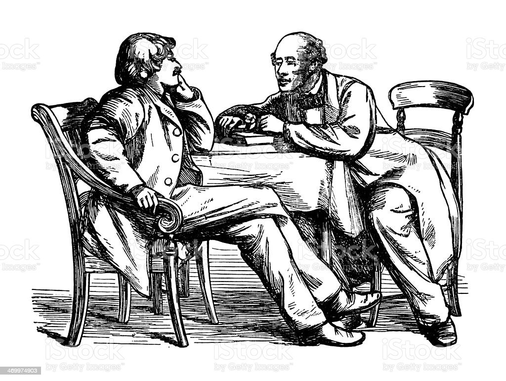 Two Victorian men chatting at a table vector art illustration