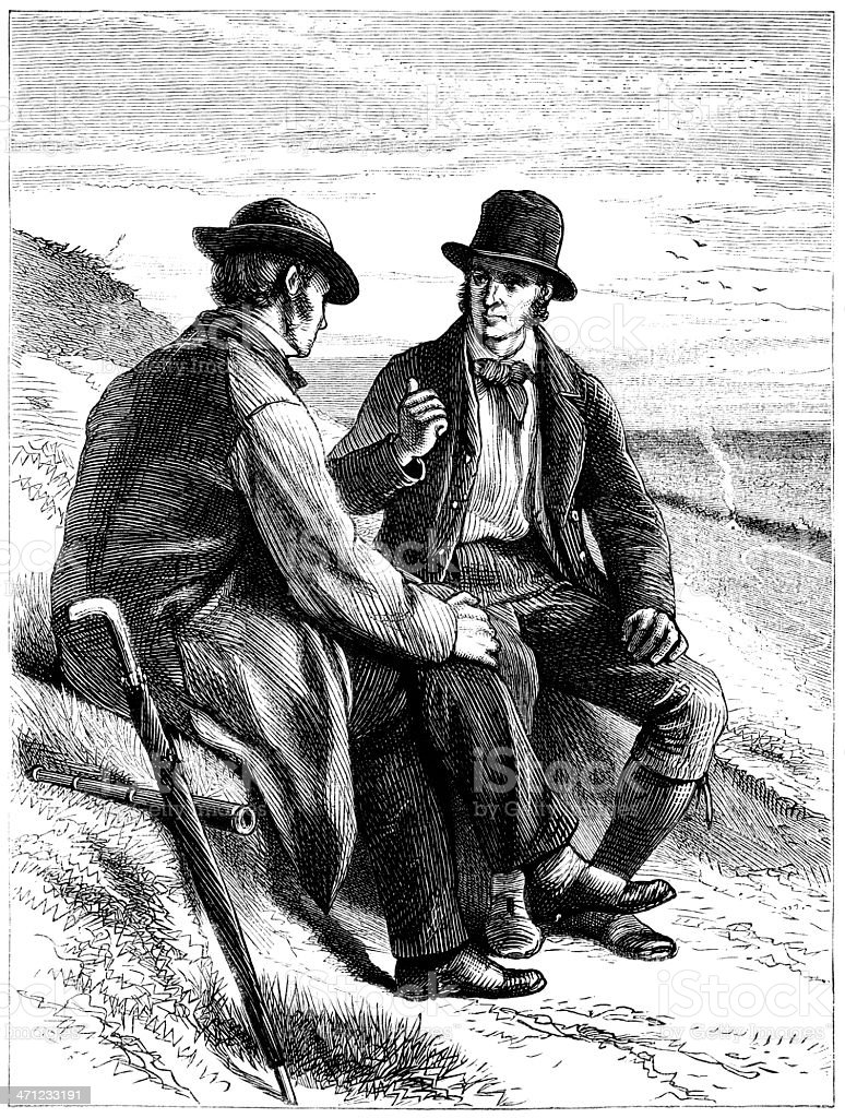 Two Victorian men chatting by the roadside royalty-free stock vector art