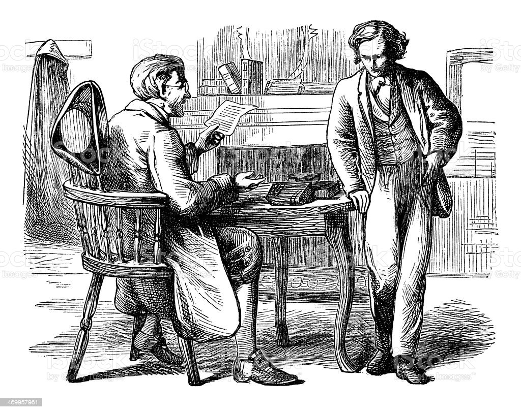 Two Victorian men in discussion vector art illustration