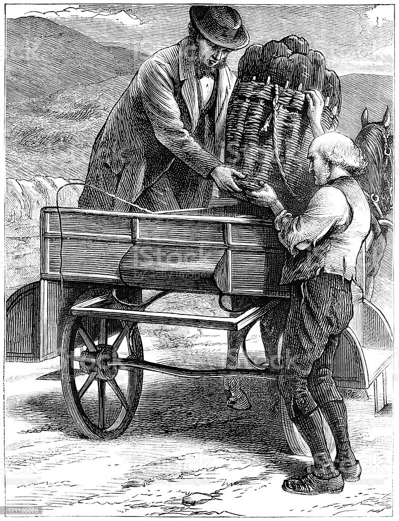 Two Victorian men loading a horse-drawn cart royalty-free stock vector art