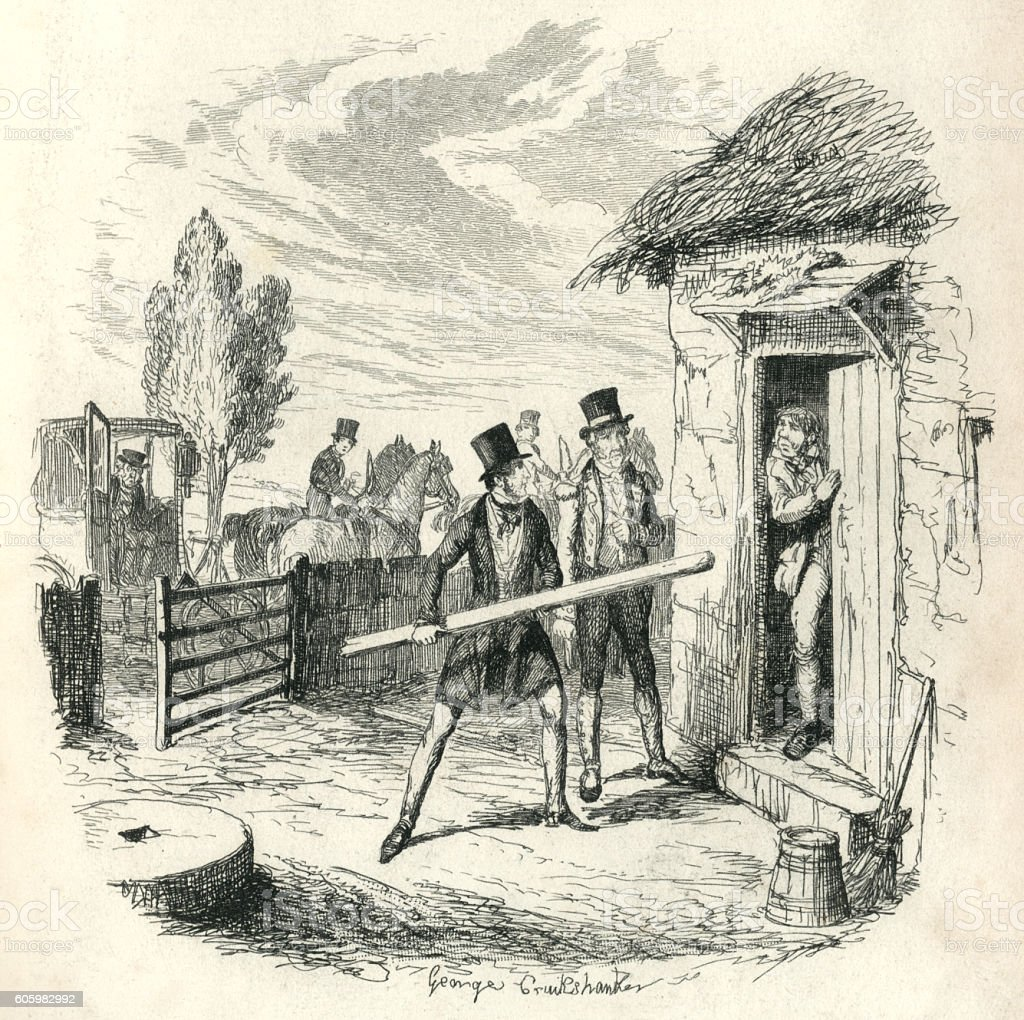 Two Victorian men trying to force entry to a cottage vector art illustration