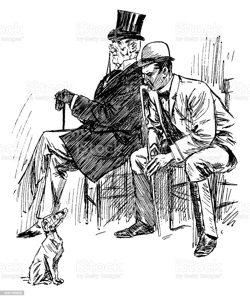 Two Victorian men with a small muzzled dog vector art illustration