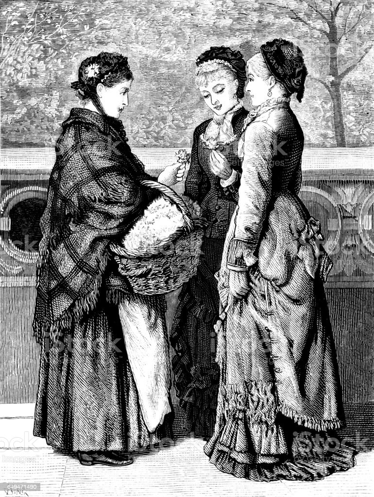 Two Victorian women buying flowers from a flower seller vector art illustration