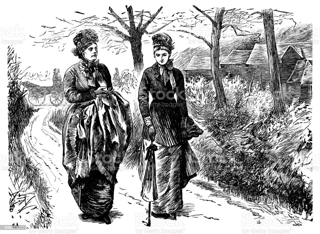 Two Victorian women walking in a lane vector art illustration