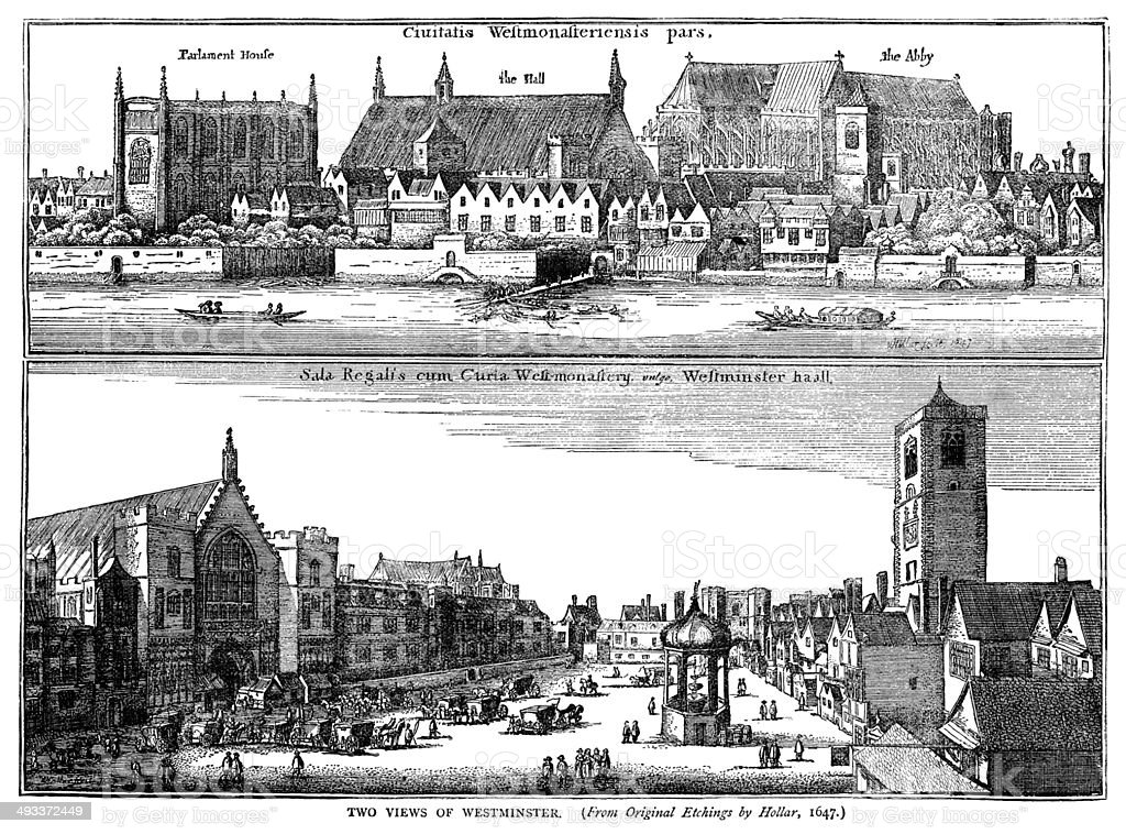 Two views of Westminster by Hollar, 1647 vector art illustration