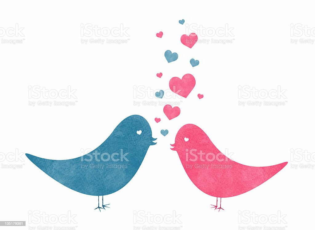 Two Watercolor Love Birds with Hearts vector art illustration