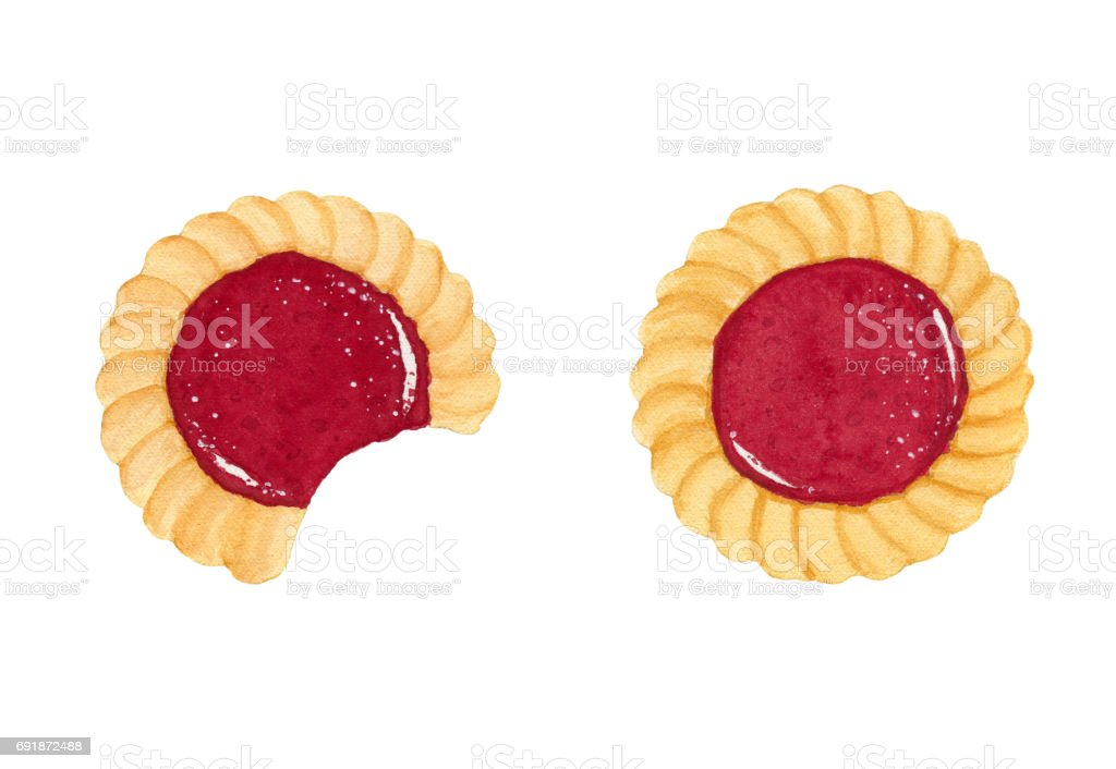 Two watercolor shortbread cookies with fruit jam vector art illustration