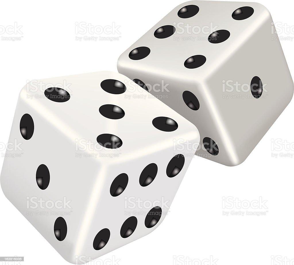 Two white dice vector art illustration