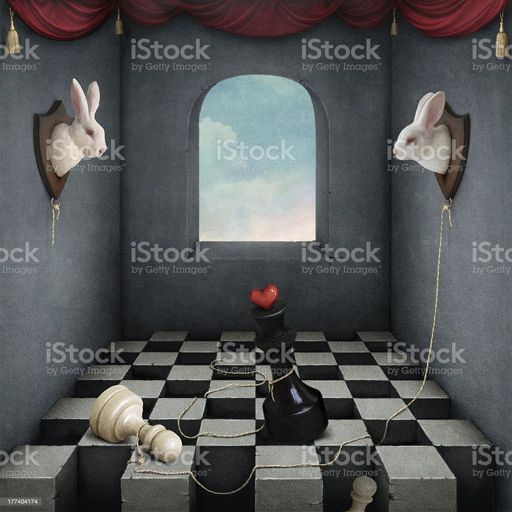 Two white rabbits royalty-free stock vector art