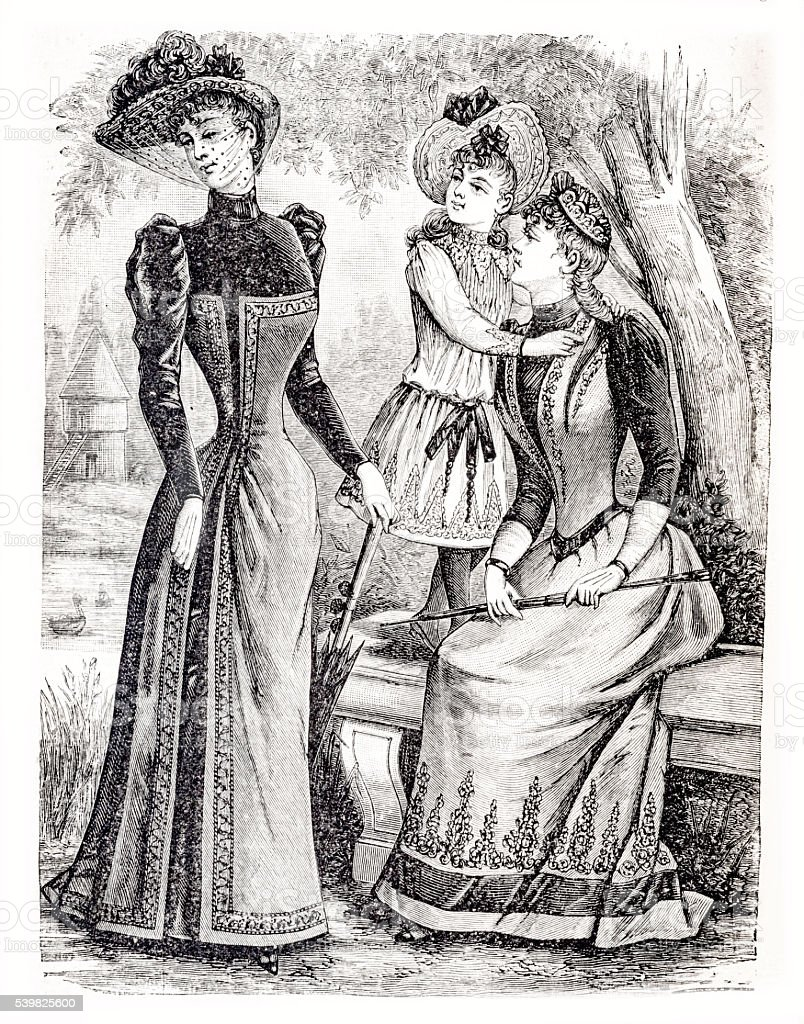 two women and a girl Paris fashion engraving 1889 stock photo