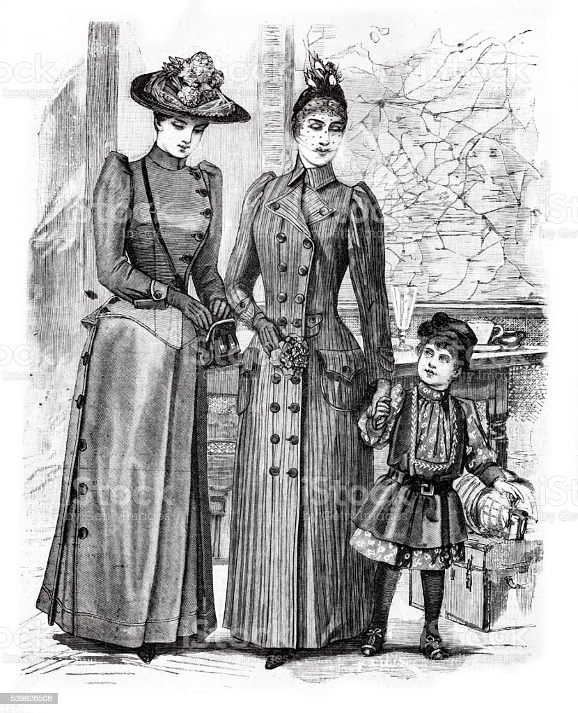two women and a girl Paris fashion engraving 1889 vector art illustration