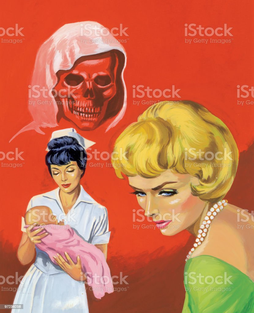 Two Women and Baby royalty-free stock vector art