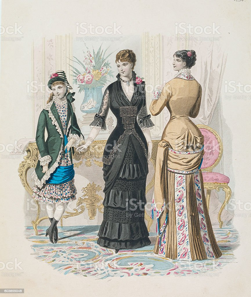 Two women and teenager showing dresses with queue de Paris vector art illustration
