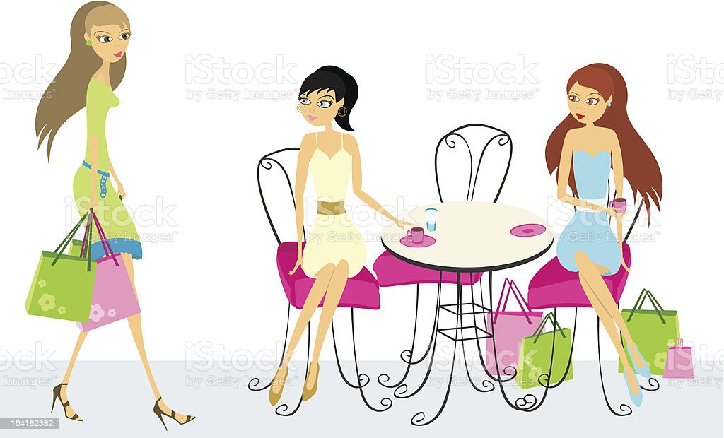 Two women, sitting in a cafe, waiting for third royalty-free stock vector art