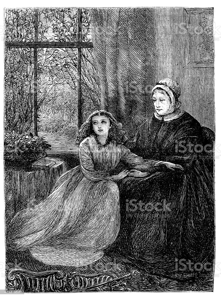 Two women sitting interior scene in conversation  1868 magazine royalty-free stock vector art