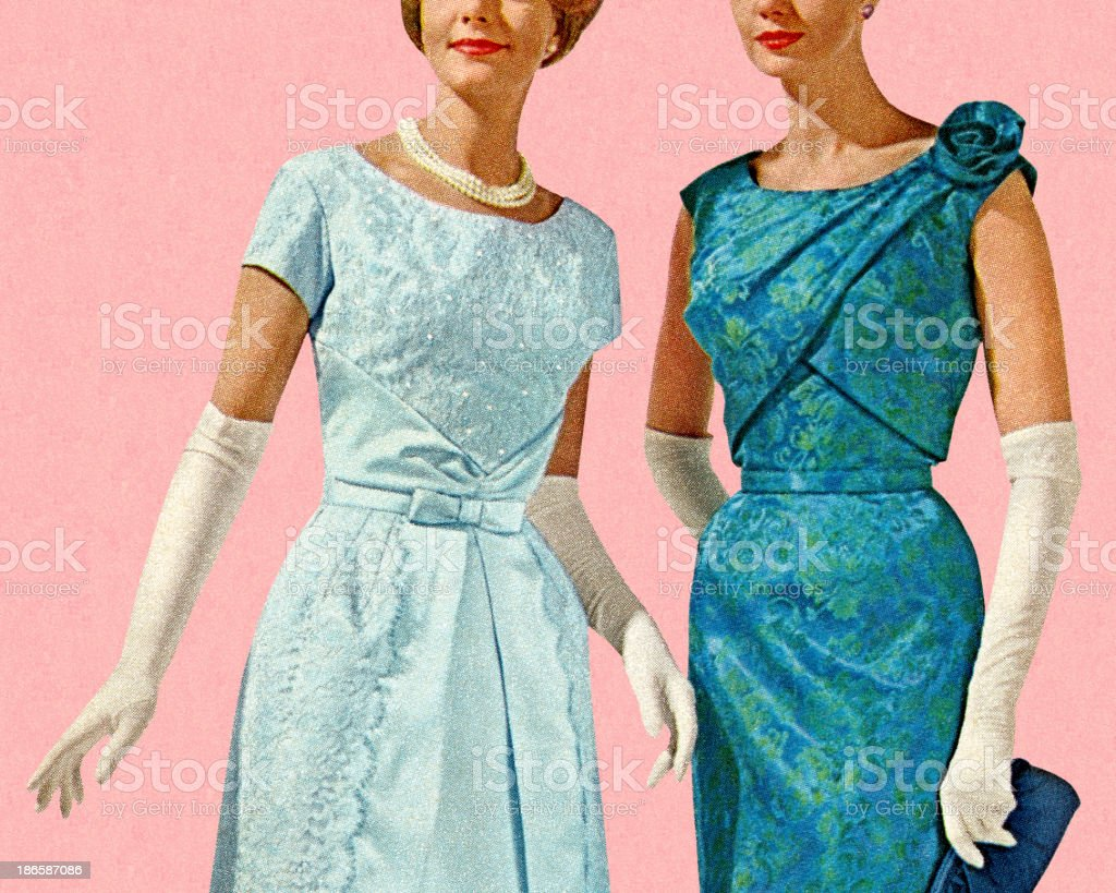 Two Women Wearing Evening Gowns vector art illustration