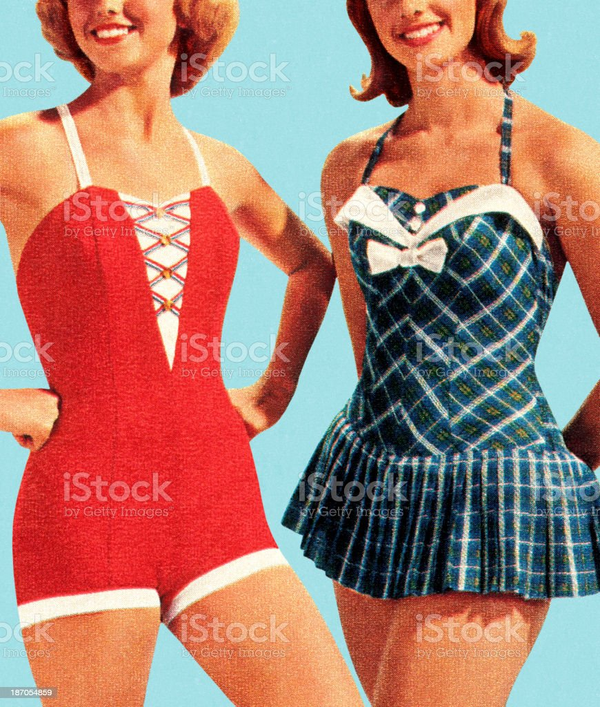 Two Women Wearing Swimsuits vector art illustration