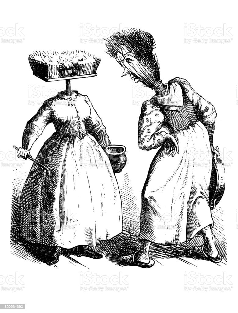 Two women who have a broom instead of their head disagree about cleaning, Scene with humor - 1867 vector art illustration