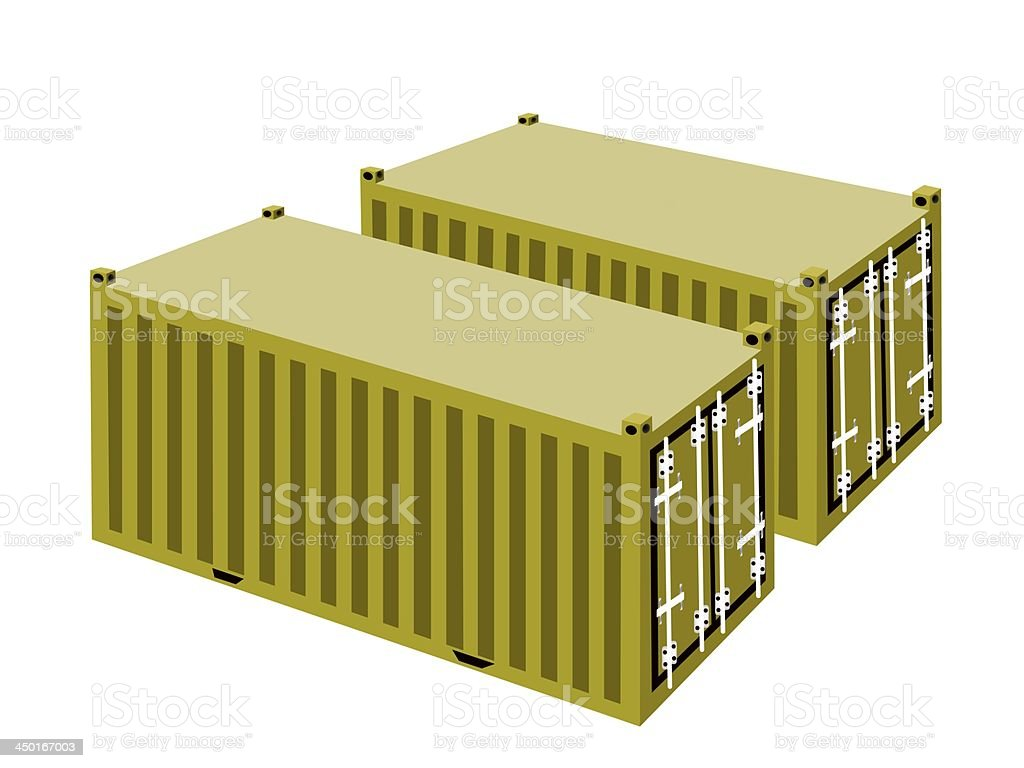 Two Yellow Cargo Containers on White Background royalty-free stock vector art