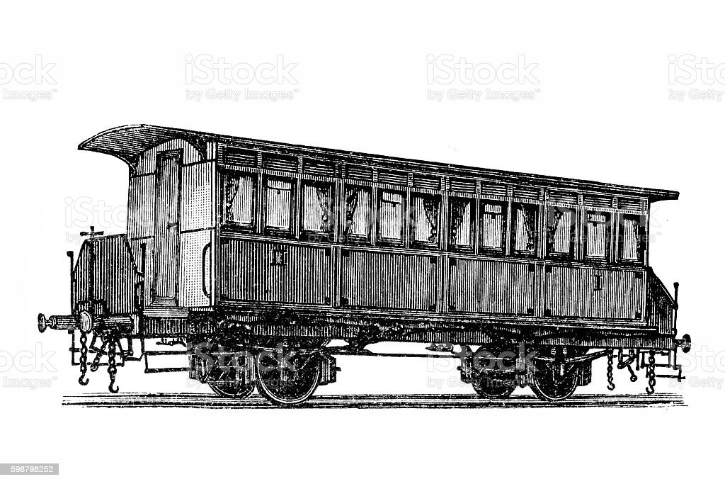 Two-axle passenger cars with interconnections vector art illustration