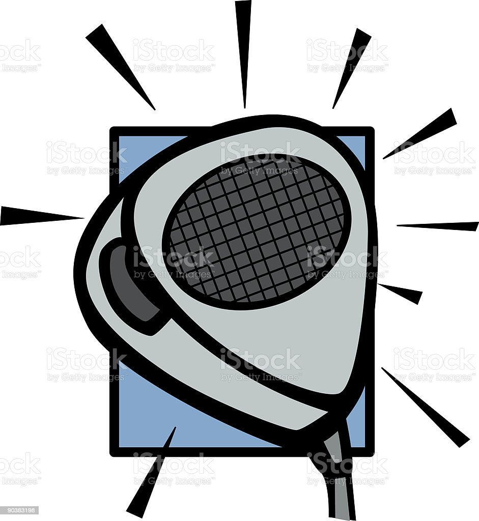 two-way radio microphone vector art illustration