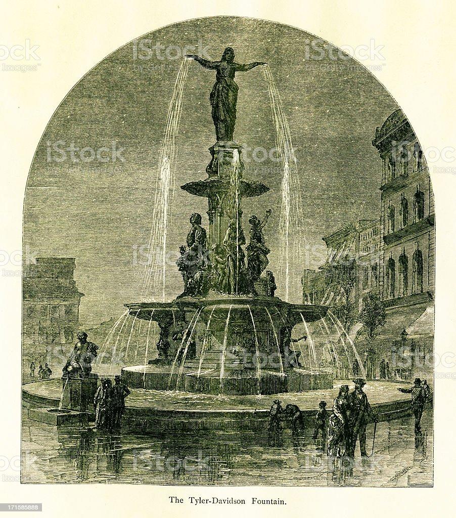 Tyler Davidson Fountain, Cincinnati, Ohio royalty-free stock vector art