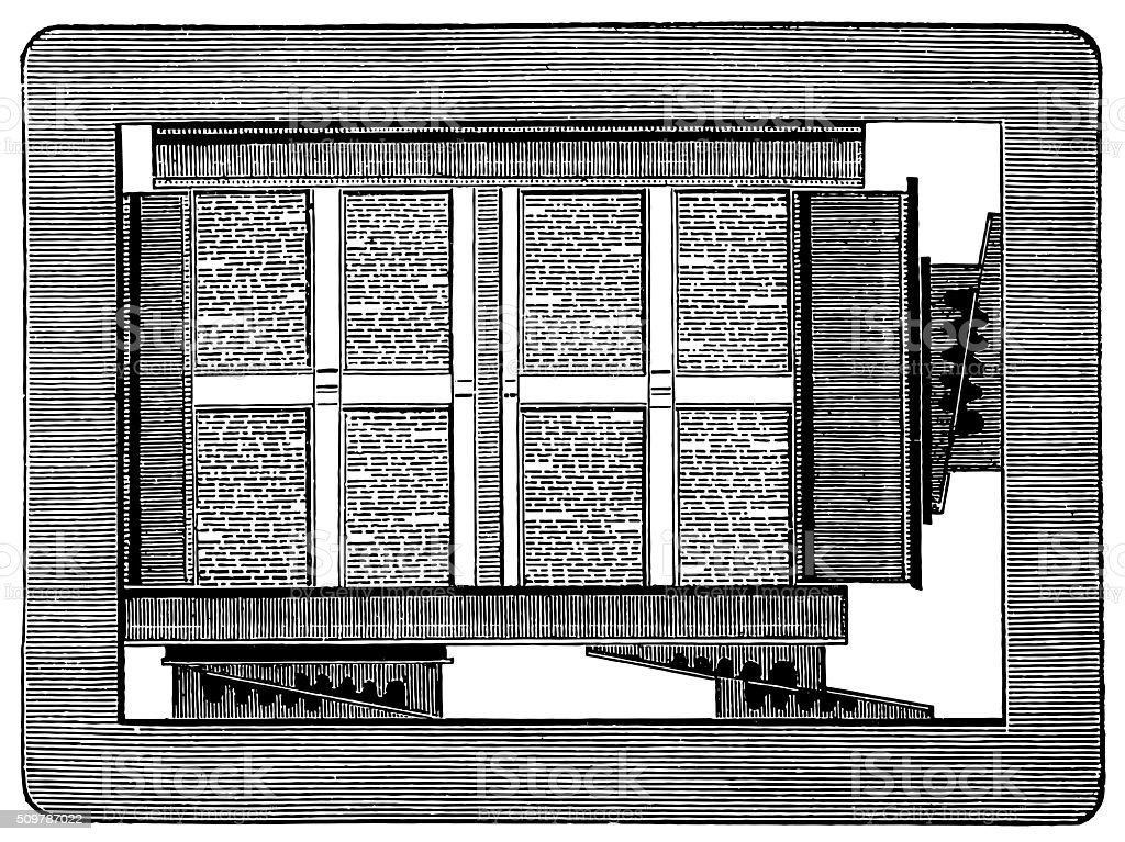 Typesetting (antique engraving) vector art illustration