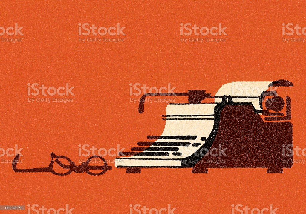 Typewriter and Glasses royalty-free stock vector art