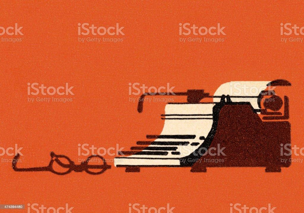 Typewriter and Glasses vector art illustration