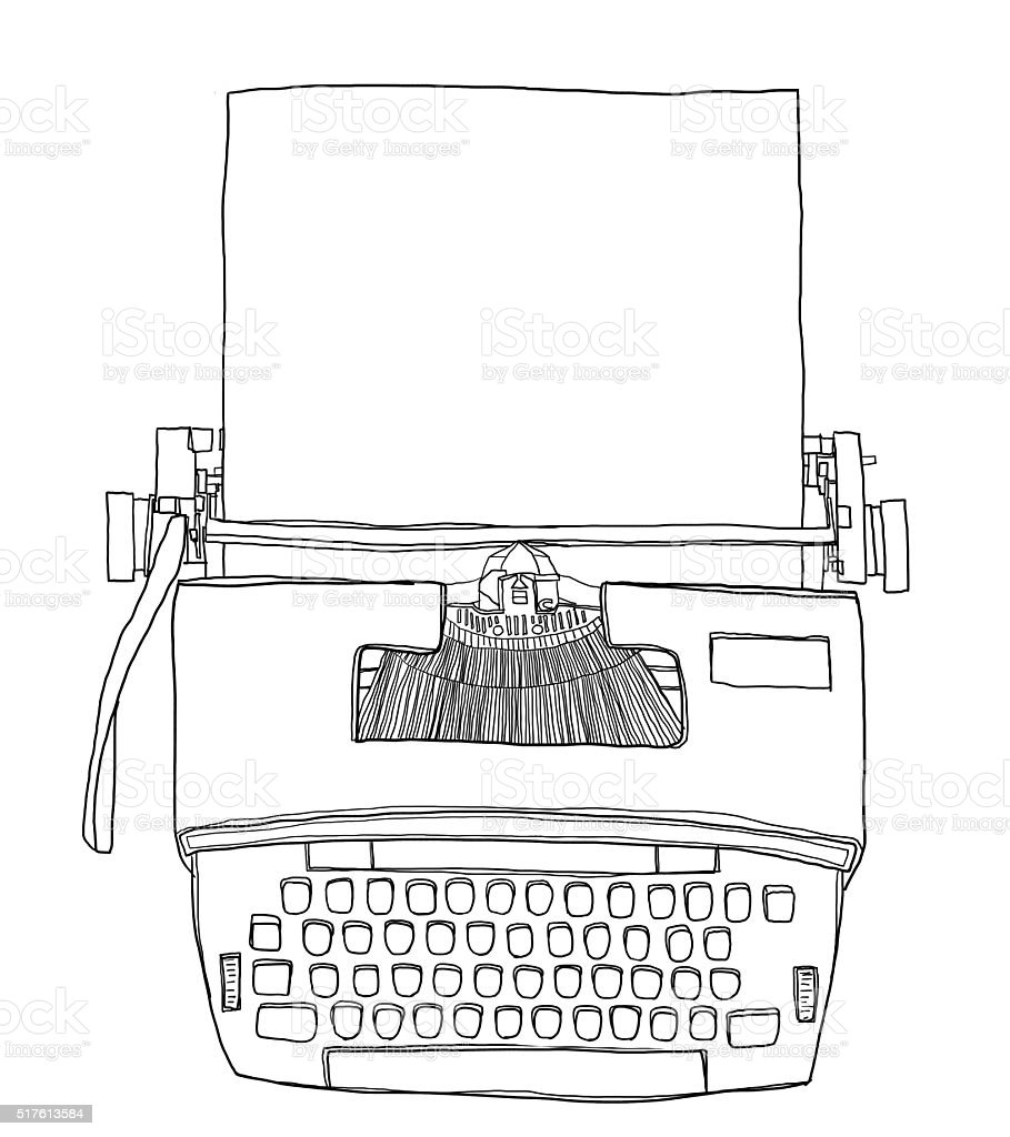 Typewriter Vintage Electric with paper cute line art illustratio vector art illustration