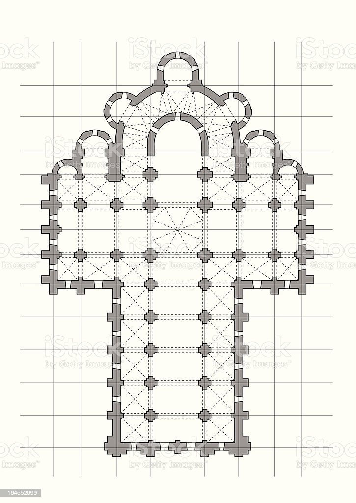 typical cathedral plan in grayscale royalty-free stock vector art
