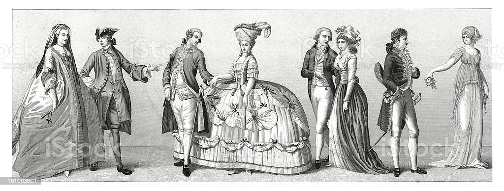 Typical costumes from Western Europe - Germany, France (XVIII century) vector art illustration